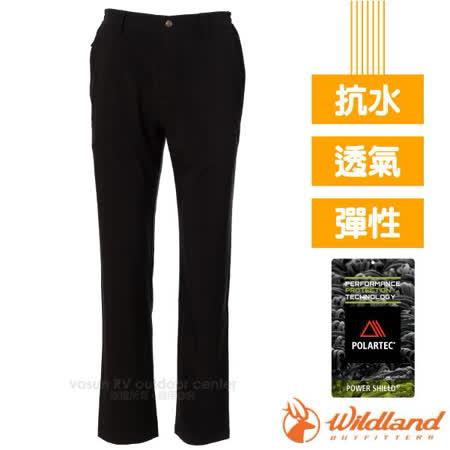 【荒野 WildLand】男新款 POLARTEC 超強極輕耐磨超潑水多功能長褲(超強抗風)/P2302 黑 V