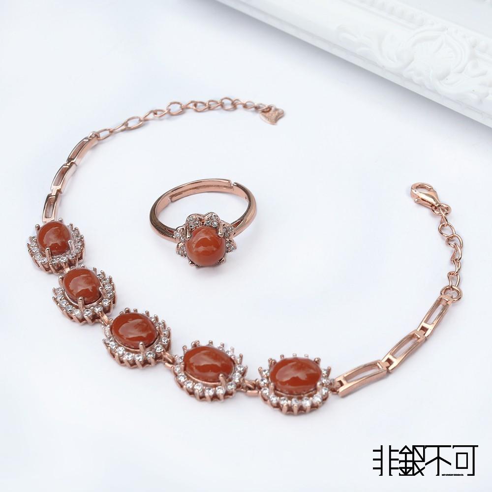 【非銀不可】天然南紅 精品純銀套組B款(赤玉 Southern red agate)