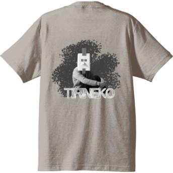 ちりねこ Tシャツ バックプリント【ニワトリマスク】(カラー : ライトグレー, サイズ : L)