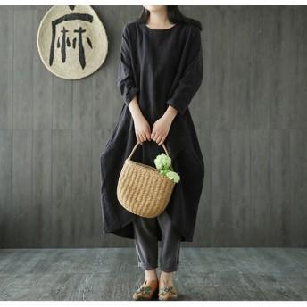 マタニティ ナチュラル コットン 長袖 ファッション 韓国 秋 大きいサイズ ワンピース レディース 791
