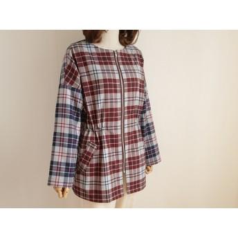 春の配色格子 ラフジャケットコート スプリングコート