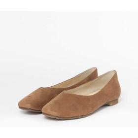 [ロデスコ] 靴 バレエシューズ ELS スクエアトゥVカットフラットシューズ レディース CAMEL 36