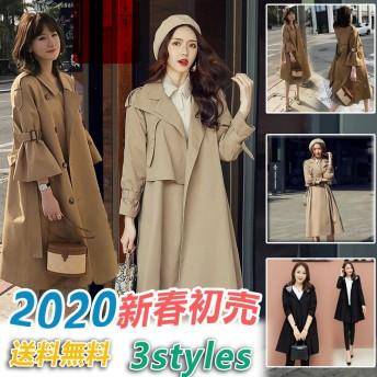 【超目玉】2020春新作入荷送料無料韓国ファッション/トレンチコート 上品/ シックで可愛い ロングコート/トレンチコ3Type ロングトレンチコート