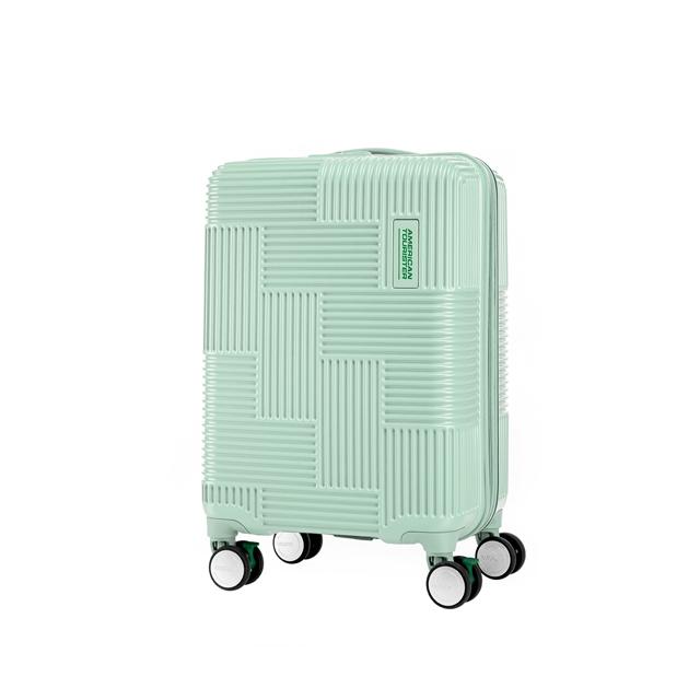 AT 美國旅行者 20吋Velton 跳色幾何防盜拉鍊剎車輪登機箱 粉綠