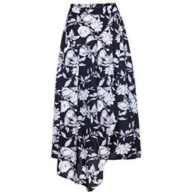 Fomolom女性マキシスカート夏カジュアル花柄プリントスカート軽量エレガントハイウエストロングスカート