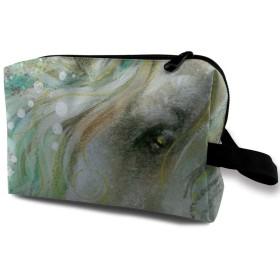 グリーン 緑 ユニコーン メイクポーチ 化粧 コスメバッグ 小物入れ 収納バッグ 便利 大容量 収納ケース 旅行用 レディース用
