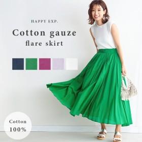 [当日出荷]ふわっと風に舞う。コットンガーゼフレアスカート。2019夏新作 国内発送 ve10708