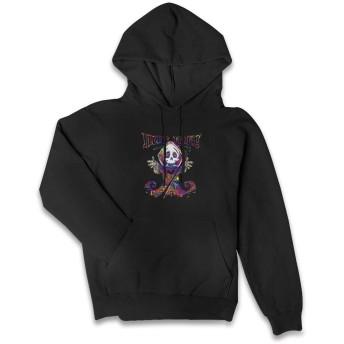 スウェットパーカー カジュアル プリント Hug Me Death 長袖 レディース フロントプルオーバー スウェットシャツ ファッション フード付き ポケット付き ブラック 秋冬 ソフト 暖かく 快適な 女性用