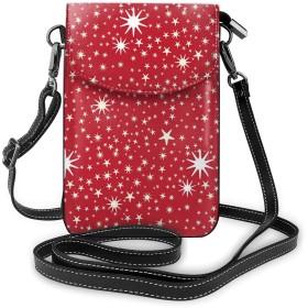 星柄 赤い 携帯バッグ 携帯ケース フォン保護 携帯収納バッグ ボディ掛け財布 スマホバッグ ショルダーバッグ 斜め掛けバッグ 小物入れ カード入れバッグ 多機能 多用途