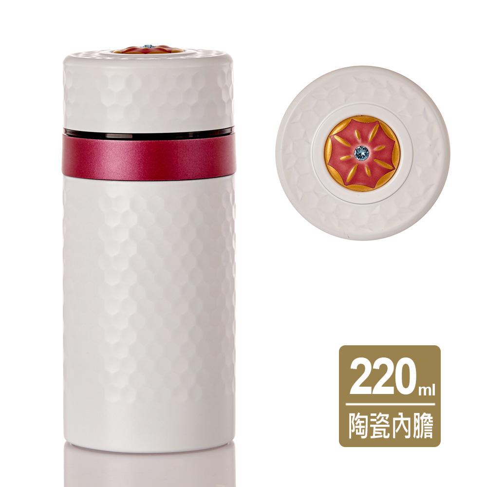 《乾唐軒活瓷》小金石保溫杯 / 珍珠白+紅圈 / 鎏金+水晶 220ml