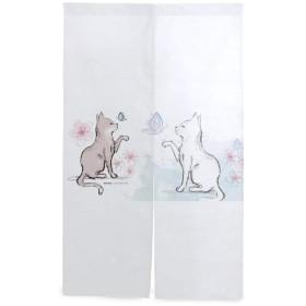 のれん 和風 暖簾 目隠し 遮光 玄関 間仕切りカーテン キッチンカーテン 2匹の猫が庭で蝶をからかいます シンプル ファッション 断熱カーテン