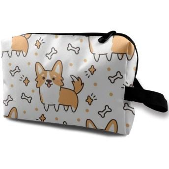 かわいい秋田犬柄 メイクポーチ 化粧 コスメバッグ 小物入れ 収納バッグ 便利 大容量 収納ケース 旅行用 レディース用
