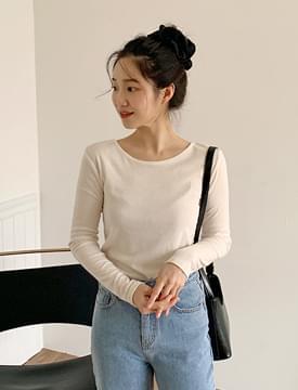 韓國空運 - V-Line Slim T-shirt 長袖上衣