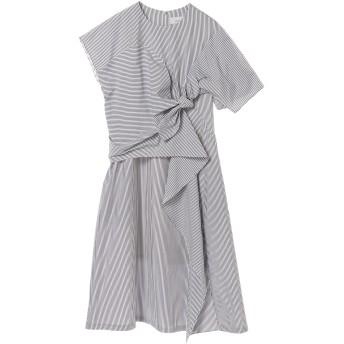 AKIRANAKA アキラナカ ドレープ結びデザインストライプワンピース drape knot stripe dress WHBL ワンピース,WHITE×BLUE