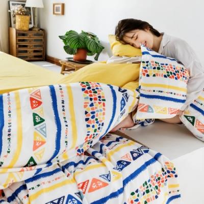 La Lune MIT精梳棉200織紗單人床包2件組 探索印加圖騰