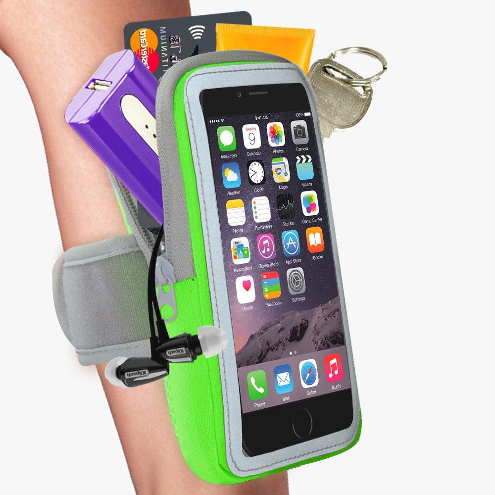 【活力揚邑】防水透氣排汗跑步手機觸控雙層運動臂套-5.7吋以下通用-蘋果綠