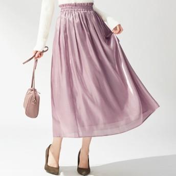 Alotta シャイニーサテンギャザースカート ブラック LL レディース 5,000円(税抜)以上購入で送料無料 フレアスカート 春 レディースファッション アパレル 通販 大きいサイズ コーデ 安い おしゃれ お洒落 20代 30代 40代 50代 女性 スカート