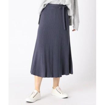 COMME CA ISM/コムサイズム 《コットン混》 マーメイド フレア ニットスカート ネイビー L