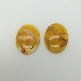 25mmX18mmオーバル2個 ヴィンテージカボション ゴールデンオレンジ cab228-6078 ビーズ刺繍