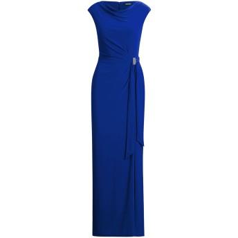 《セール開催中》POLO RALPH LAUREN レディース ロングワンピース&ドレス ブルー 2 ポリエステル 95% / ポリウレタン 5% JERSEY COWLNECK EVENING DRESS