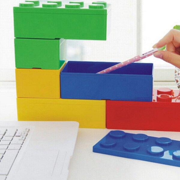 疊疊樂 積木 文具桌面收納盒 (正方形)(長方形)【BlueCat】【RC3975】