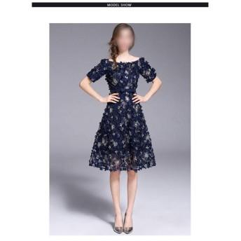 重作業刺繍入り女性気質スリムワンピース襟手作り三次元フラワースカートディナー (Color : Picture color, Size : L)