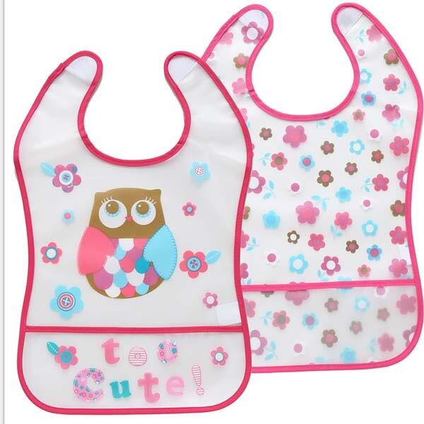 防水圍兜卡通eva圍兜嬰幼兒免洗防水口水巾6-12m-兩條裝
