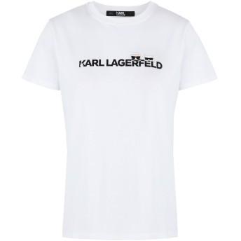 《セール開催中》KARL LAGERFELD レディース T シャツ ホワイト L コットン 100% IKONIK & LOGO T-SHIRT