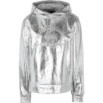 《セール開催中》KARL LAGERFELD レディース スウェットシャツ シルバー XS コットン 100% ADDRESS LOGO HOODIE