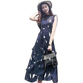 レディース ロングスカート 妖精のスカートのドレス 夏 韓国語版 気質 ウェスト スリム シフォン ドレス 赤いドレス S-2XL (ネイビー,2XL)