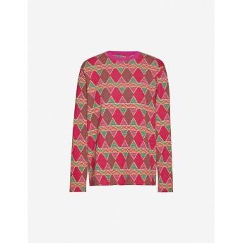ステューシー STUSSY レディース ニット・セーター トップス Cuzco graphic-print cotton-jersey top BERRY