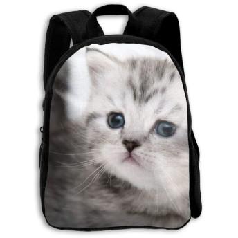 かわいい灰色猫の子供のキャンバスの学校のバックパックミニリュックサックスクールバッグ
