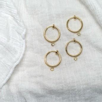 【2ペア】フープイヤリング 15mm ゴールド