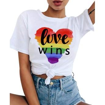 taofang レディースカジュアルホワイトTシャツグラフィックプリントプラスサイズの半袖Tシャツ美ブラウス ファッション衣装