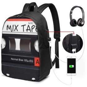 トラベルパックUsb充電ポート付き多機能カレッジブックバッグのミックステープUsbバックパック17