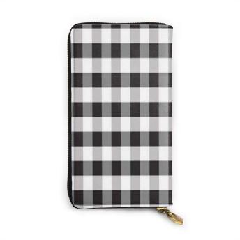 黒と白の格子縞 財布 本物の牛革 長財布 メンズ財布 レディース財布 おしゃれ ジッパー コインケース 大容量 小銭入れ ファッション小物