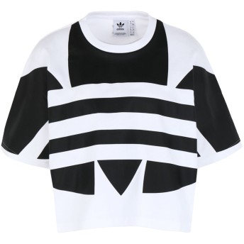 《セール開催中》ADIDAS ORIGINALS レディース T シャツ ホワイト 30 コットン 100% LRG LOGO TEE