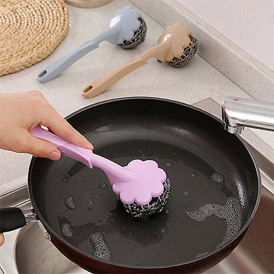 鋼刷 長柄刷 鋼絲球 刷子 洗碗 可拆式鋼刷 清潔刷 洗鍋 手柄鋼絲球刷(長柄)【L065】生活家精品