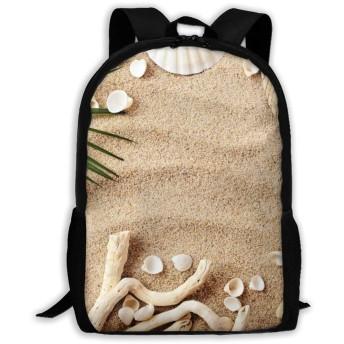 サンドビーチ ヒトデ シェル トロピカル リュックバック リュックナップザック バッグ ノートパソコン用のバッグ 大容量 バックパックチ キャンパス バックパック 大人のバックパック 旅行 ハイキングナップザック