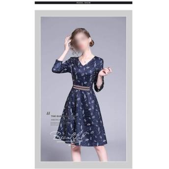 ファッションVネックロングセクションウエストスリム気質ワードスカートプリントドレス (Color : Picture color, Size : S)