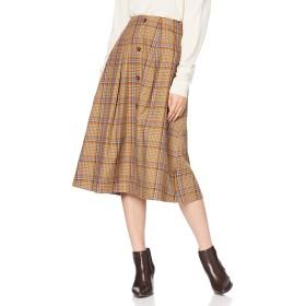 (アルシーヴ) archives 前ボタンチェックAラインスカート 195173150003 MEDIUM キャメル