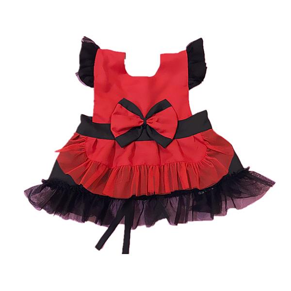 【BlueCat】[國小版]黑花袖黑腰帶紅黑雙色蝴蝶結公主圍裙 兒童圍裙