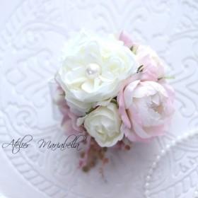 ローズパニエコサージュ<ピンク&ホワイト>