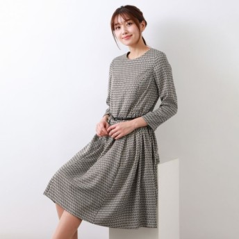 SALE【アマカ(AMACA)】 ジオメトリックプリントドレス ブラック