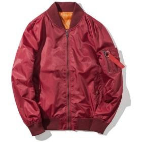 メンズ フライトジャケット ボンバージャケット MA-1 ジップアップ 無地 防寒 カジュアル ライダース コート アウター ブルゾン XL ダークレッド