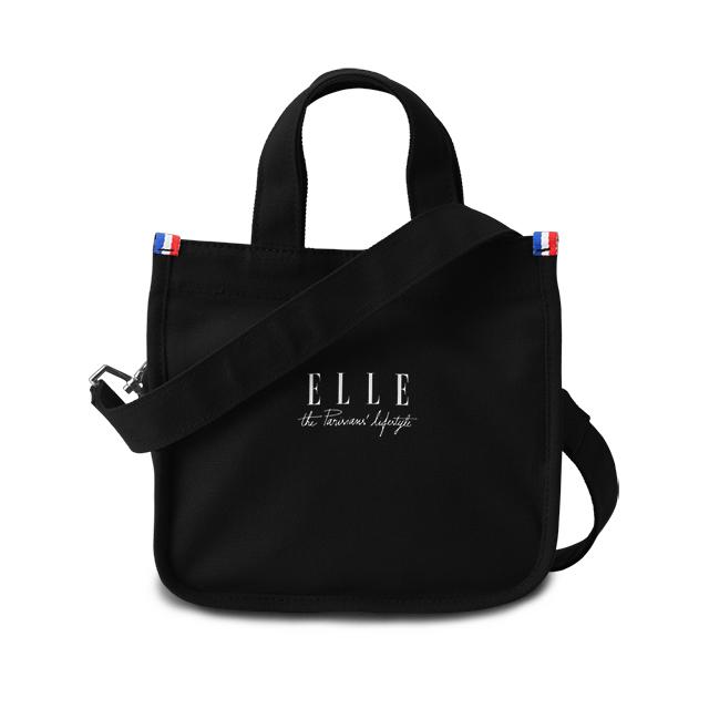 ELLE 周年限定版 極簡風帆布斜背小方包 黑色 EL52370