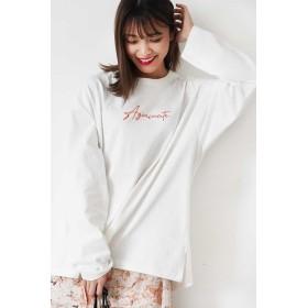 【公式/フリーズマート】【先行予約2月下旬-3月上旬入荷予定】ロゴ刺繍ビッグTシャツ/女性/カットソー/ホワイト/サイズ:FR/コットン 100%