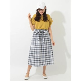 【E hyphen world gallery:スカート】チェックギャザースカート