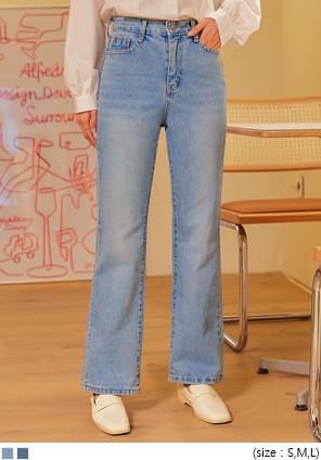 韓國空運 - 直筒高腰刷色牛仔褲