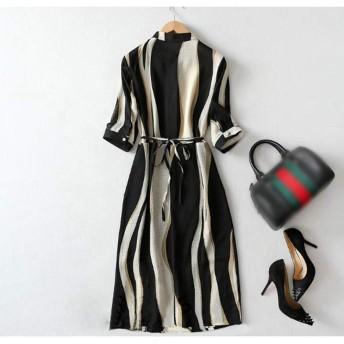 ロングスカートストライプ気質スリムシフォンドレス (Color : Black, Size : 3XL)